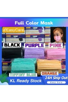 【KL Rdy Stock】Adult FULL COLOR 3 Ply MASK BFE <95% Disposable Earloop  Face Mask With Box . Good Quality COLOUR Mask