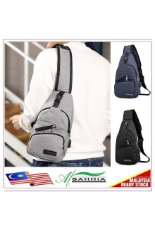 12G2 Al Sahhia USB Canvas Charging Men's Chest Pouch Messenger Bag Sling