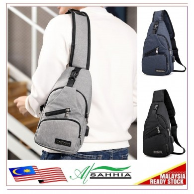 12G2 Al Sahhia USB Canvas Charging Men's Chest Pouch Messenger Bag Sling