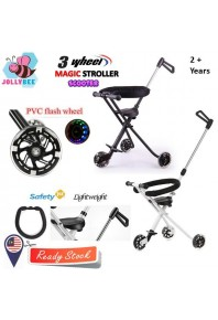 Jollybee (3 Wheels) Portable Folding Tricycle Hand Push Walker Baby Magic Stroller with Safety Fence